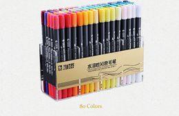 STA 12/24/36/48/80 Colori Dual Tips Pennarello per acquerello Set di pennarelli con punta del Fineliner per colorare Libri Disegno Evidenziazione in Offerta