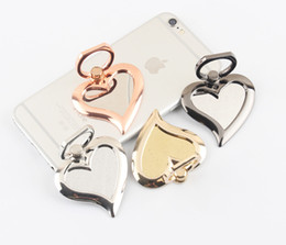 shaped mobile phone holders 2019 - Universal 360 Degree Mirror Heart Shape Finger Ring Holder Ring Phone Stand For iPhone 7 6s Samsung For Mobile Phones ch