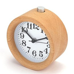 Discount handmade lamps - Handmade Classic Small Round Wood Silent Desk Alarm Clock With Desk Lamp for Home