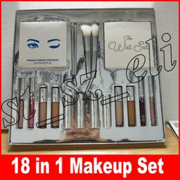 Silver Series Makeup Set Wet Set Blue Honey Palette Skin Concealer Lipstick Lip Gloss Make up Brushes 18 in 1 Kit