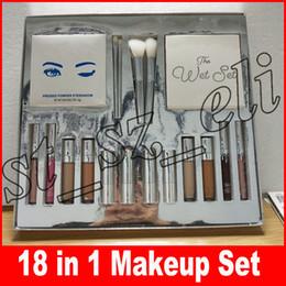 Silver makeup palette online shopping - Silver Series Makeup Set Wet Set Blue Honey Palette Skin Concealer Lipstick Lip Gloss Make up Brushes in Kit