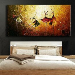 hand painted abstract canvas art Australia - Hand Painted Abstract Women Dancers Oil Painting on Canvas Handmade Colorful Paintings Wall Art Home Decoration