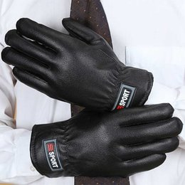 Wholesale Men Winter Fleece Thermal PU Leather Gloves Male Thick Warm Long Finger Ski Windproof Waterproof Gloves Mittens Motocycle