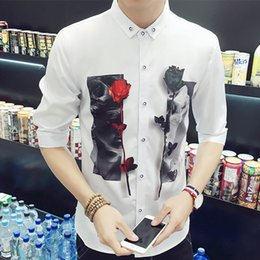 Wholesale Real Pictures New Men Dress Shirts Hide Button Solid Flowers Men Shirt Long Sleeve Social Tuedo Shirts M XL