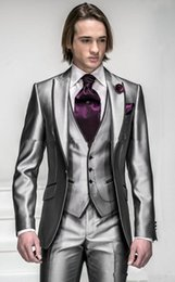 men grey shiny suit Australia - 2018 New Style One Button Shiny Silver Grey Groom Tuxedos Groomsmen Men's Wedding Suits Best man Suits (Jacket+Pants+Vest+Tie)