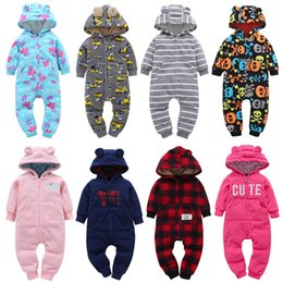 Camouflage rompers online shopping - Baby Winter Hooded Rompers Newborn Boy Girl Designer Clothes Jumpsuits Dinosaur Plaid Camouflage Dots Striped Halloween Christmas M