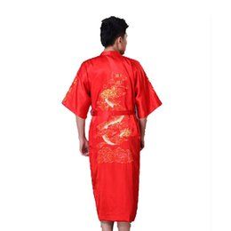 a0b2a9cd0d Red Chinese Men s Traditional Embroidery Dragon Robe Nightgown Summer Satin  Sleepwear Kimono Bath Gown S M L XL XXL XXXL 011025
