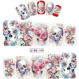 Halloween Nail Art Australia - 1sheet Water Stickers for Nail Art Decoration Slider Skull Bone Halloween Crown Nail Designs Decals Manicure Lacquer BN181-BN204