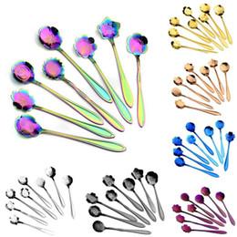 Flower spoon online shopping - 7 colors flower mixing spoon Stainless steel colorful flower coffee spoon kinds of flower shape tea spoon