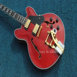 $enCountryForm.capitalKeyWord NZ - New Arrival Top Quality Custom Shop Tiger Flame Maple Model 335 with Tremolo Red Jazz Electric Guitar Semi Hollow Body Free Shipping