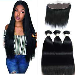 human hair mixed bundles 2019 - Peruvian Straight Hair Bundles With Lace Frontal 13*4 Human Hair Bundles With Closure 3 Pieces With frontal Non Remy dis