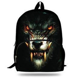 Zoo Backpack Kids UK - 16-Inch Fashion Kids Animal Backpack White Wolf Bag For Kids Wolf Backpack Zoo Animal Bag For Children School Bags Boys Girl