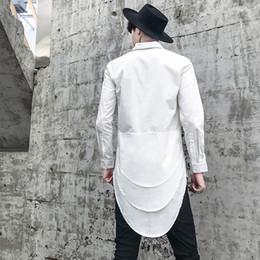 $enCountryForm.capitalKeyWord Australia - Men punk hiphop black white long shirt irregular design streetwear mens casual patchwork vintage shirt nightclub stage blouse