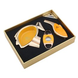 Cohiba Lighter Cutter Australia - COHIBA High grade yellow cigar set with Cartoon avatar shape ashtray ,cutter and lighter good gift for friend