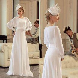 $enCountryForm.capitalKeyWord NZ - Pure White Chiffon A Line Wedding Dresses with Sash Long Sleeves Wedding Gowns Simple Cheap Dress for Bride