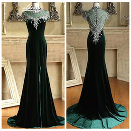 high neck short evening dress NZ - High Neck Slim Women 2019 Mermaid Evening Dresses Short Sleeves Major Beading Crystal Velvet Bling Bling Special Occasion Prom Gown