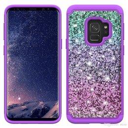 Samsung S9 S8 Artı Iphone X 8 7 6 s Artı Moda Bling Glitter Parlak Darbeye TPU PC Durumda Kapak OPP Aicoo indirimde
