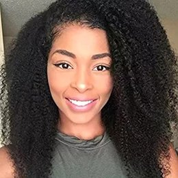 Discount afro hair wigs for african woman - African Human Hair Wigs For Black Women Peruvian Afro Kinky Curly Lace Front Wigs With Baby Hair DHL FREE