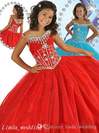12 Cupcakes Australia - Red Light Aqua Girls Pageant Dress Princess Ball Gown Tulle Party Cupcake Prom Dress For Young Short Girl Pretty Dress For Little Kid