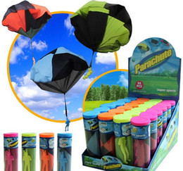 wholesale parachute toys Australia - LNL NEW Hand Throwing Kids Mini Play Parachute Toy Soldier Outdoor Sports Children's Educational Toys Outdoor Toys Candy Color DHL free ship