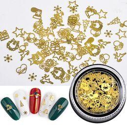 $enCountryForm.capitalKeyWord Australia - 120 PCS Set Christmas Stickers Nail Glitter Hollow Metal Sticker Christmas Stickers Leaves Gear Gold Super Thin Film Mixed Set