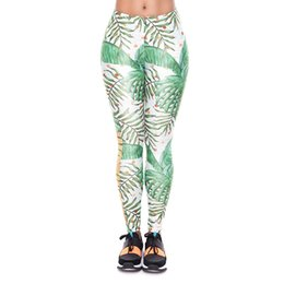 $enCountryForm.capitalKeyWord UK - Girl Leggings Work Out Gold Palm 3D Print Women Skinny Stretchy Pants Lady Comfortable Sportwear Yoga Soft Trousers (YX52005)