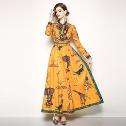 a968262336 Women Ethnic Long Dress Autumn 2018 Large Sizes 3XL Animal Floral Print  Orange Bow Expansion Elegant Lady Maxi Dresses Vestidos