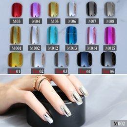 24 pcs bleus métal court faux ongles argent punk couleur unie rose long métal rouge faux ongles pleins ongles brillant côté miroir doré