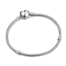 $enCountryForm.capitalKeyWord Australia - 3mm Snake Chain Bracelet DIY Jewelry Accessories Silver Plated Heart shape Basic Chain 17-21CM 5PCS Christmas Gift Cheap DHL