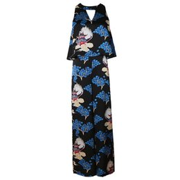 5b38a0522ff Hollowed Chinese Style Tower Pine Tree Printed Wide Leg Sleeveless Layered  Jumpsuit