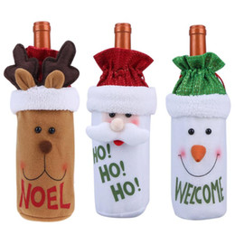 Christmas Tables Australia - Red Plush Cute Snowmen Wine Bottle Cover Bag Banquet Christmas Dinner Party Table Decor Santa Claus Festive New Years Supplies