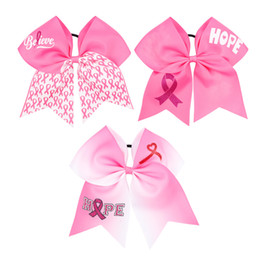 Breast cancer accessories online shopping - Newset Breast Cancer Awareness Cheer Bow With Elastic Band For Cheerleader baby headbands Girl Hair Accessories