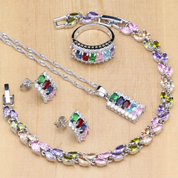 Wholesale Compact Multicolor Stone Silver Jewelry Sets For Women Wedding Earrings Pendant Ring Bracelet Necklace Set