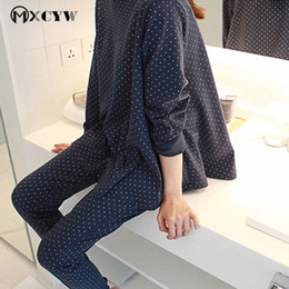 33877bf498 Korean Loose Cotton Women S Pajamas Casual Sweet Long Sleeves Trousers Home  Suit Round Neck Knit Homewear Home Clothes For Women