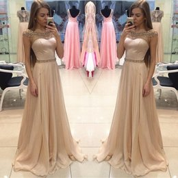 jacket dresses plus size special occasions 2019 - Champagne Beaded Long A Line Formal Evening Dresses A Line Special Occasion Prom Party Dress discount jacket dresses plu