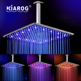 Stainless Shower NZ - 3 Colors Led Showerhead 16inch Ultra-thin Square Stainless Steel Rainfall Head Shower Ducha Chuveiro 40cm * 40cm