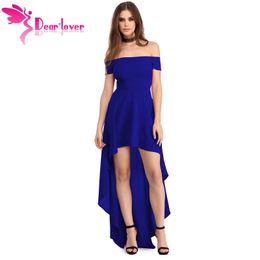 c460dfd2f2e Dear Lover Sexy Party Gown 2017 Summer Women Blue High Low Hem Off Shoulder  Dress Vestido de Verao Robe De Soiree Longue LC61437