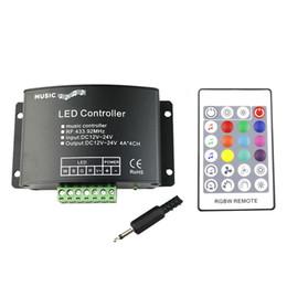 Sound Controller Australia - RGBW Music LED Controller DC12V-24V 4A*4CH 24 Keys RF Remote Sound Sensor Voice Audio Control For 3528 5050 RGBW LED Strip Light