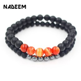 hematite jewelry sets NZ - NADEEM 2Pcs Set Natural Black Matte Prayer Beaded Bracelet Sets Women and Mens Buddha Hematite Bead Bracelet Sets Jewelry Bijoux