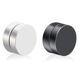 d84d6321d Magnet Non Piercing Earrings, Auniquestyle Stainless Titanium Steel Round Magnetic  Clip on Fake Stud Earrings Mens Magnetic Earrings Jewelry