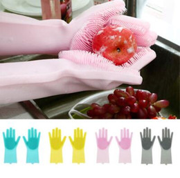 $enCountryForm.capitalKeyWord NZ - 10 Colors 2pcs pair Magic Silicone Rubber Dish Washing Gloves Cleaning Gloves Resuable Household Scrubber Gloves CCA10547 60pair