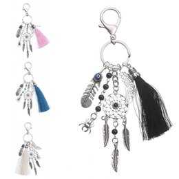 Wholesale Bohemian Tassel Dream Catcher Key Chain Women Turquoise Leaves Bag Pendant Keychain Car Decor Ornament Colors D580Q