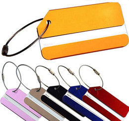 Wholesale Aluminum Alloy Luggage Tags Suitcase Travel Bag Labels Holder Name Card Straps Suitcase Name Pet Tags