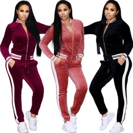 7a0537296b1 Ladies Spring autumn Casual Velvet Two-piece Outfits Long Sleeved Jacket Long  Pant Womens Fall Sweatsuits Tracksuit