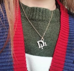 online shopping Women Sexy Brand Letters Clavicle Chain Necklace Crystal Rhinestone Pendant Choker Collar Chain Wedding Prom Fashion Jewelry Accessoreis