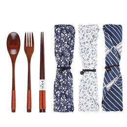 Lucky packs online shopping - Environmental Wooden Fork Spoon Three piece Suit Japanese Korea Style Travel Portable Tableware Nice Dinnerware Bag Packing Free DHL