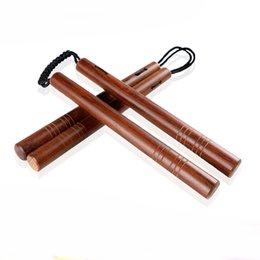 kung fu stick UK - Hard Wooden Nunchaku With Soft Ropes Nunchakus Actual Performance Show Martial Arts Supplies Two Head Sticks For Adults 26cb ZZ