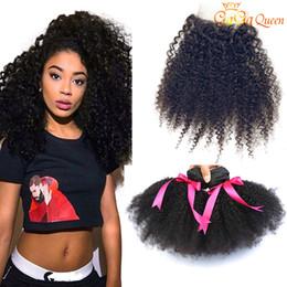 Discount afro kinky hair bundle closure - Brazilian Afro kinky Curly Hair With Closure 3 Bundles Brazilian Human Hair Extensions Afro Kinky Curly With 4x4 Lace Cl