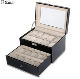 Modern Display Cases Australia - Jewelry organizer Watches Boxes 20 Grid Slots Display Storage Box Case Watch Organizer Leather Square jewelry