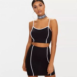3016b1589a 2 Two Piece Set Women Summer Black Sexy Crop Top and Skirt Set Casual  Strapless Outfit Tracksuit Party Club Wear Female